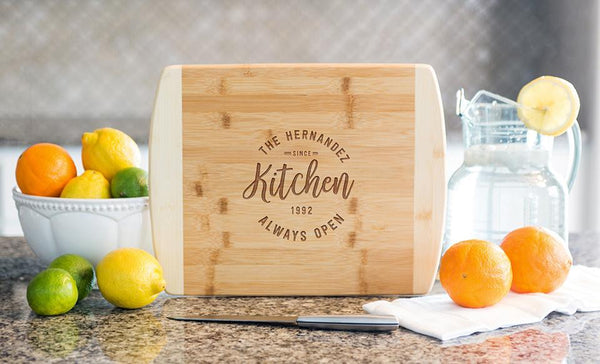 Corporate Gift Item - 11x14 Two Tone Bamboo Cutting Board (Rounded Edge) – Modern Collection