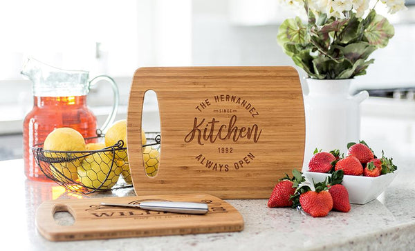 Personalized Medium Easy Carry Cutting Board - Modern Collection