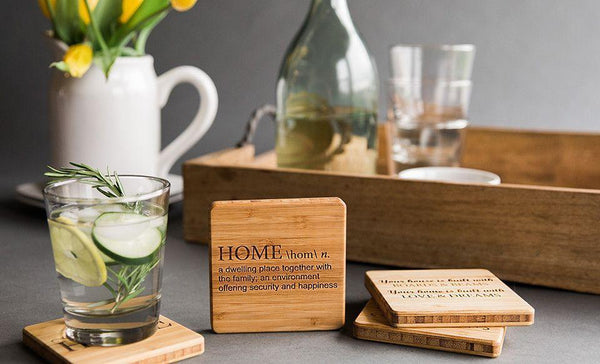 Guaranteed Rate - Branded Custom Bamboo Coasters - Set of 4