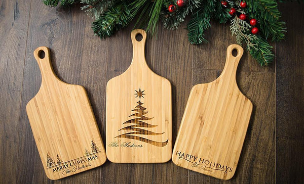 Corporate Holiday Collection - Personalized Christmas Handled Serving Boards