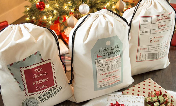 Corporate Holiday Collection - Personalized Jumbo Santa Gift Bags