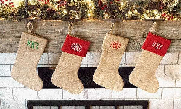 Corporate Holiday Collection - Personalized Burlap Christmas Stockings