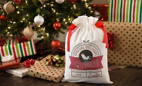 Customized Drawstring Santa Gift Bag
