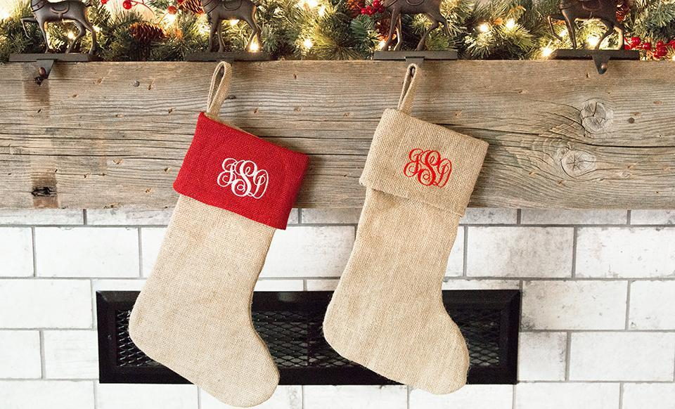 personalized burlap christmas stockings - Burlap Christmas