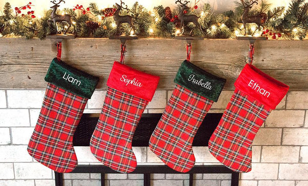 Customized Plaid Christmas Stockings