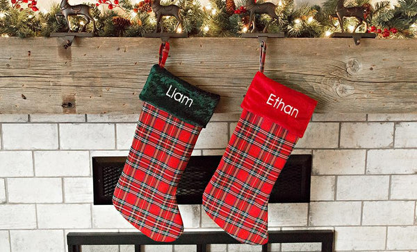 Personalized Plaid Christmas Stockings
