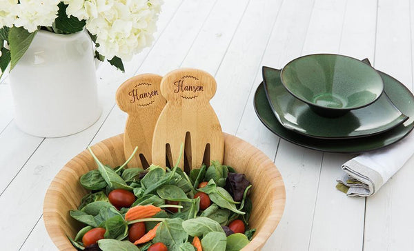Pivot - Personalized Salad Hands with Wooden Bowl