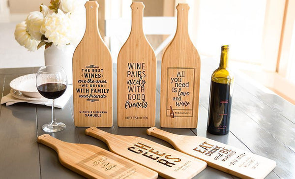 Union Home Mortgage - Wine Bottle Shaped Cutting Boards