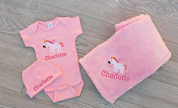 Customized Baby Bundle (Onesie, Beanie, Blanket)