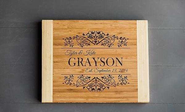 Personalized 11 x 14 Bamboo Cutting Board - 11 Styles! - FREE Set of 4 Bamboo Coasters