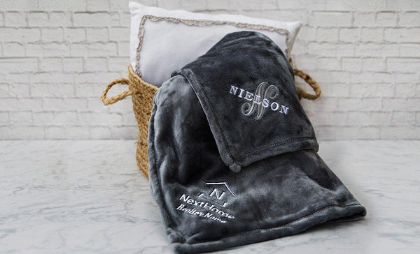 NextHome Custom Embroidered Minky Touch Blankets