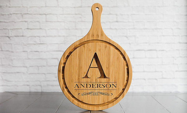 Corporate Gift Item - Large Handled Round Cutting Board with Juice Grooves