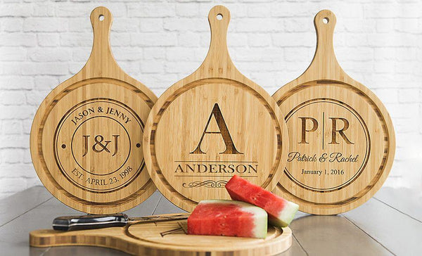 Personalized Large Handled Round Cutting Board with Juice Grooves