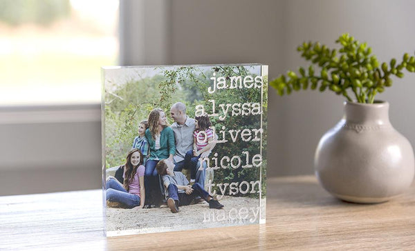 "Personalized 6""x6"" Acrylic Photography Display Blocks with Family Names"