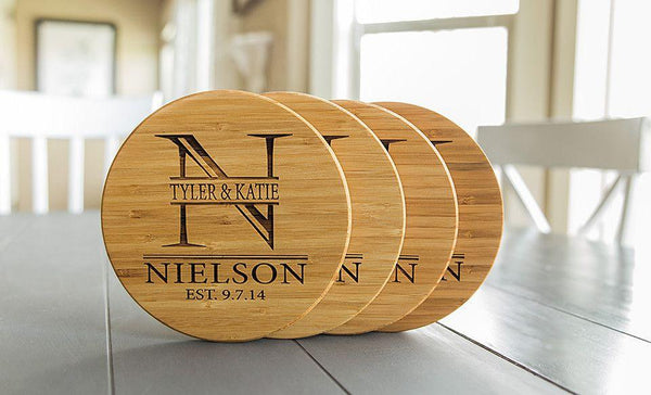Personalized Solid Bamboo Trivets - 4 Trivets