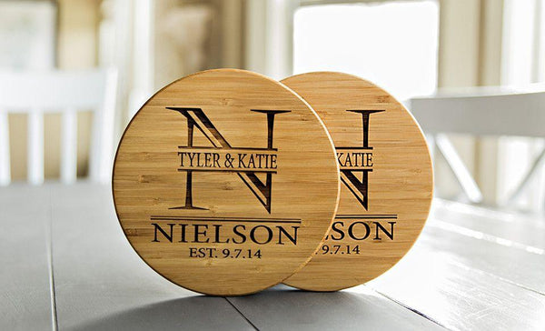 Personalized Solid Bamboo Trivets - 2 Trivets
