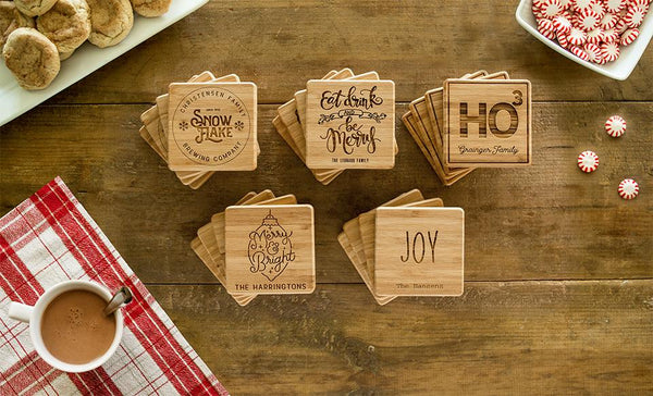 Customized Christmas Bamboo Coasters - Set of 4
