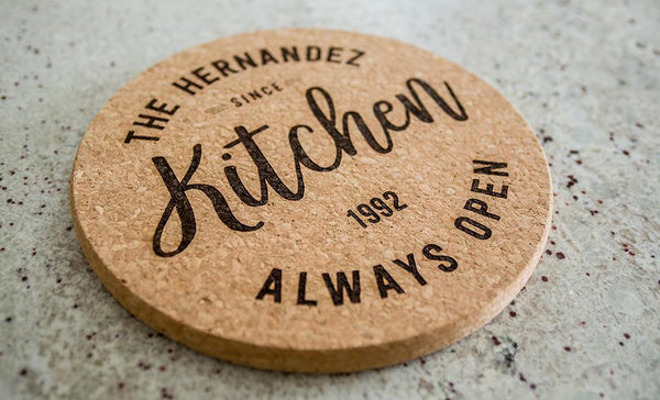 Personalized Jumbo Cork Trivets – Modern Collection