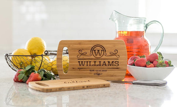 Corporate Gift Item - Personalized Small Easy Carry Cutting Board – Modern Collection