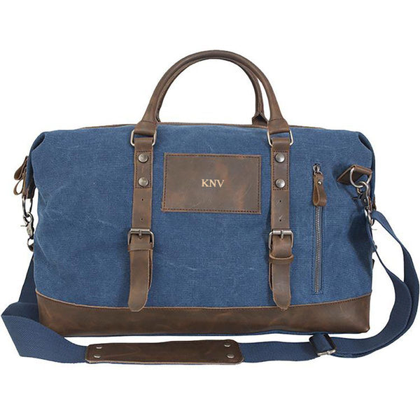 Personalized Blue Canvas and Leather Weekender Duffle Bag - Gold - JDS