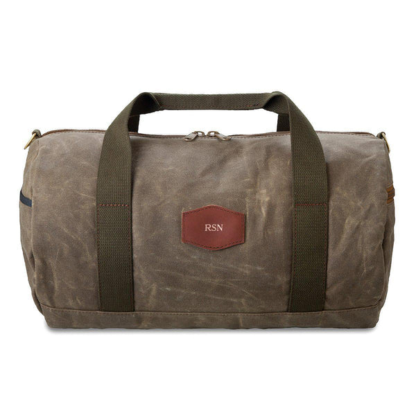 Personalized Duffle Bag - Waxed Canvas - Field Tan - RoseGold - JDS
