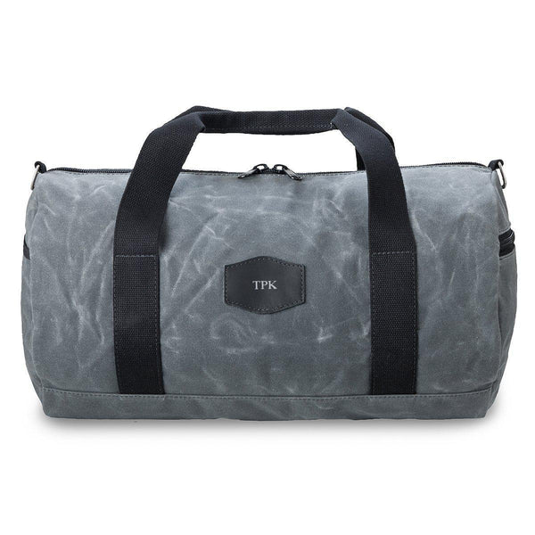 Personalized Duffle Bag - Waxed Canvas – Charcoal - Silver - JDS