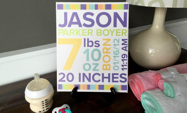 Personalized Canvas Wall Décor - Newborn Design - Baby Boy - Qualtry Personalized Gifts