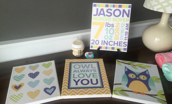 Personalized Canvas Wall Décor - Newborn Design - Baby Boy