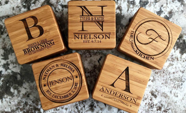 Personalized Thick Bamboo Coasters – Set of 2! – 5 Amazing Designs! - Qualtry Personalized Gifts