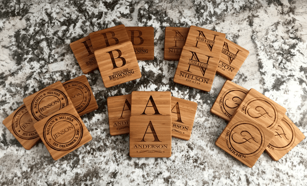 Personalized Thick Bamboo Coasters – Set of 4! – 5 Amazing Designs! - Qualtry Personalized Gifts