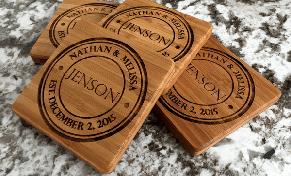 Personalized Thick Bamboo Coasters – Set of 4! – 5 Amazing Designs!
