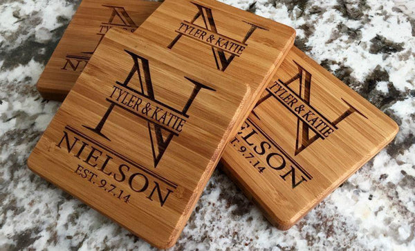 Personalized 11 x 14 Bamboo Cutting Board & Set of 4 Bamboo Coasters