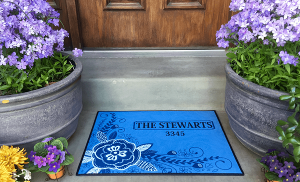 Personalized Medium Door Mats - Corner Flower Design