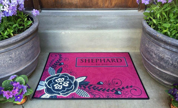 Personalized Medium Door Mats - Corner Flower Design - Qualtry Personalized Gifts