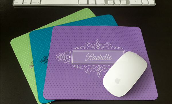 Personalized Mouse Pads - Decorative Swirl Design - Qualtry Personalized Gifts