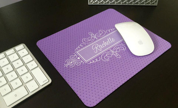 Personalized Mouse Pads - Decorative Swirl Design - Qualtry