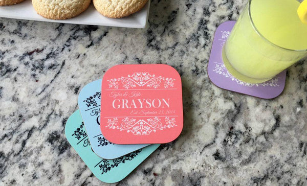 Personalized Designer Coasters - Set of 4 - Qualtry