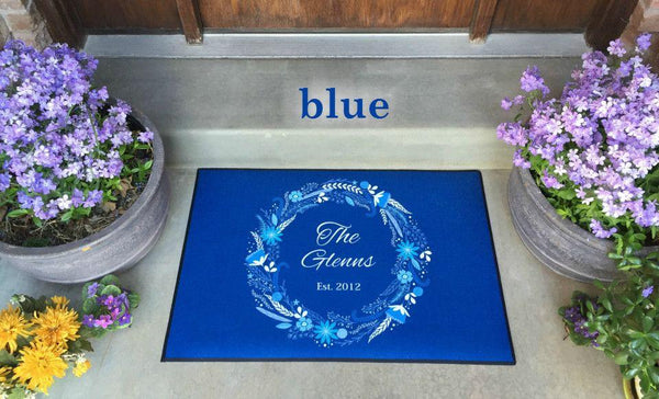 Personalized Large Door Mats - Floral Wreath Design - Qualtry