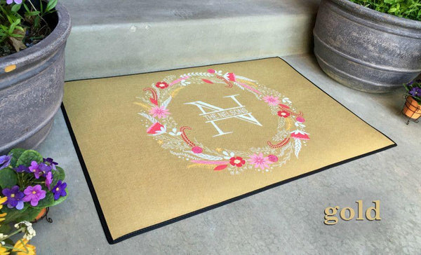 Personalized Large Door Mats - Floral Wreath Design