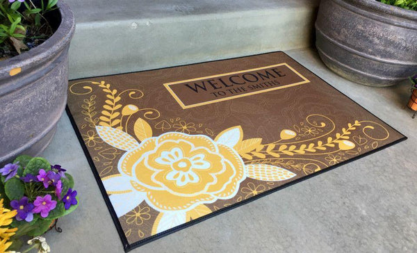 Personalized Large Door Mats - Corner Flower Design - Qualtry