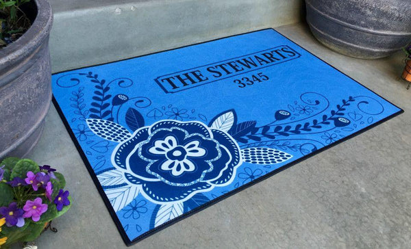 Personalized Large Door Mats - Corner Flower Design - Qualtry Personalized Gifts