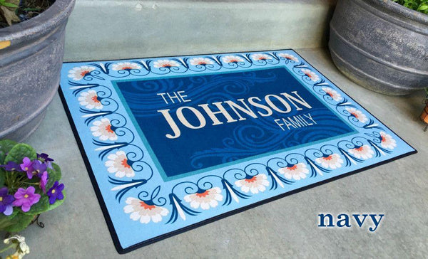 Personalized Large Door Mats - Floral Border Design - Qualtry