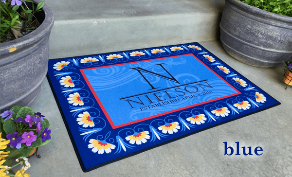 Personalized Large Door Mats - Floral Border Design