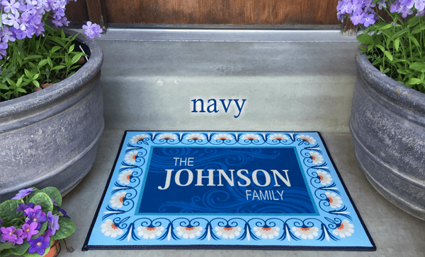 Personalized Medium Door Mats - Floral Border Design - Qualtry