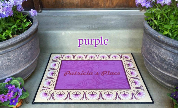 Personalized Medium Door Mats - Floral Border Design - Qualtry Personalized Gifts