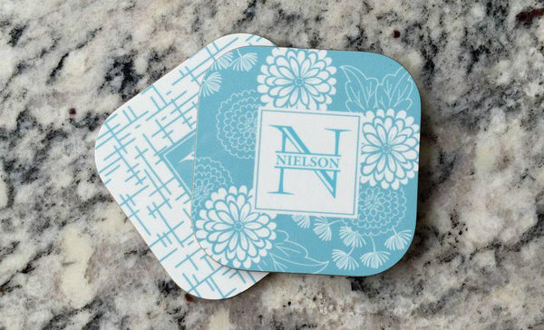 Personalized Floral Coasters - Set of 2