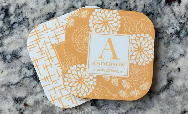 Personalized Floral Coasters - Set of 2 - Qualtry