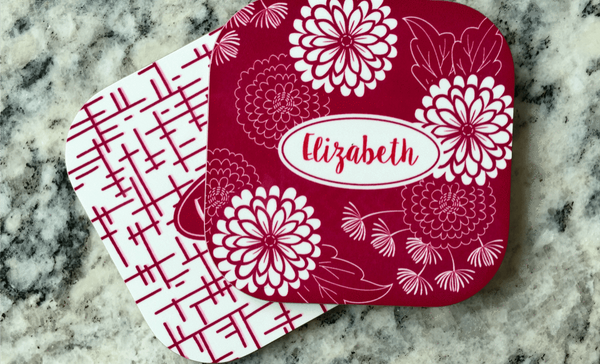 Personalized Floral Coasters - Set of 2 - Qualtry Personalized Gifts