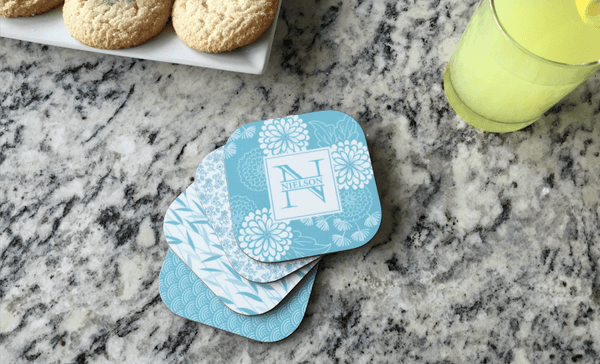 Personalized Floral Coasters - Set of 4 - Qualtry Personalized Gifts