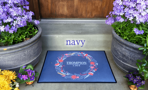 Personalized Medium Door Mats - Floral Wreath Design